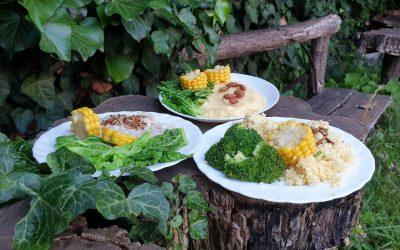 Reggeli kása ételek, blansírozott zöldséggel, pirított olajos magvakkal