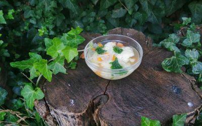 Barnarizs kása, pirított napraforgómag és sós karfiolos leves